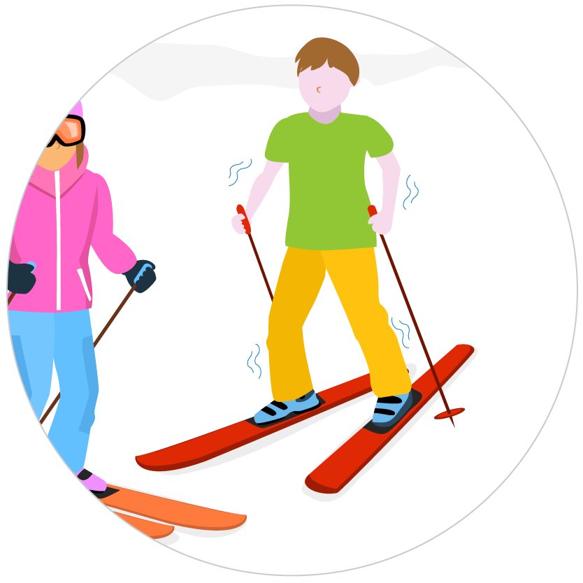 graphic of someone with skis getting hypothermia